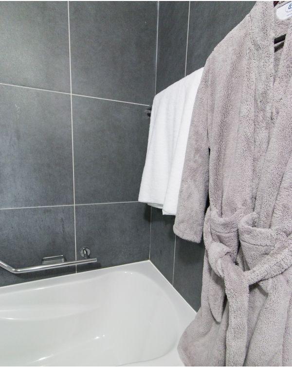 Blue Bubble - Peignoir microfibre ultra doux - qualité de luxe - gris