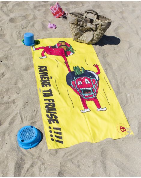 """Drap de plage - Heiata - """"Ramène ta fraise"""" - 140x70 cm"""
