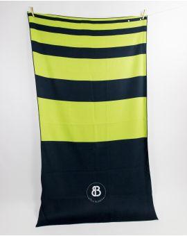 Drap de plage - Anuanua - Navy à bandes vertes - 180x100 cm