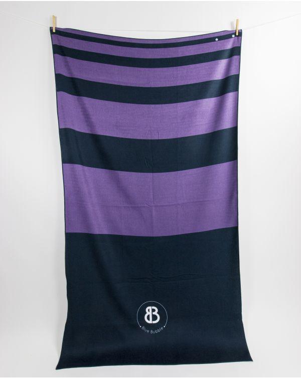 Drap de plage - Anuanua - Navy à bandes violettes - 180x100 cm