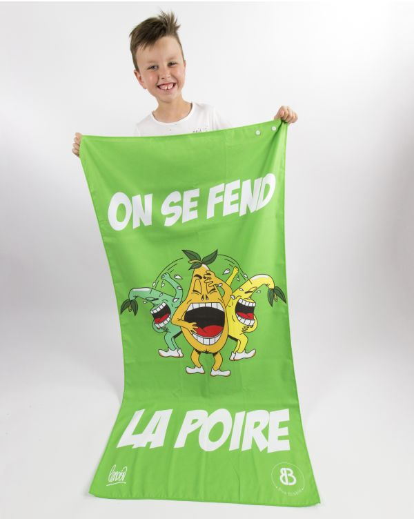 drap de plage enfant microfibre heiata imprim humour poire vasion. Black Bedroom Furniture Sets. Home Design Ideas