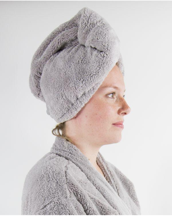 Blue Bubble - Turban cheveux - Ultra Doux - Gris - Microfibre